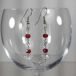 E189 Czech Ruby, & Crystal Beaded Dangle Earrings